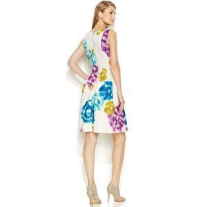 CALVIN KLEIN Tie Dye Neoprene Fit & Flare Dress